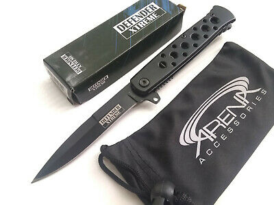 Defender Xtreme All Black Mini Spear Point Spring Assisted Stiletto Style Pocket Knife EDC
