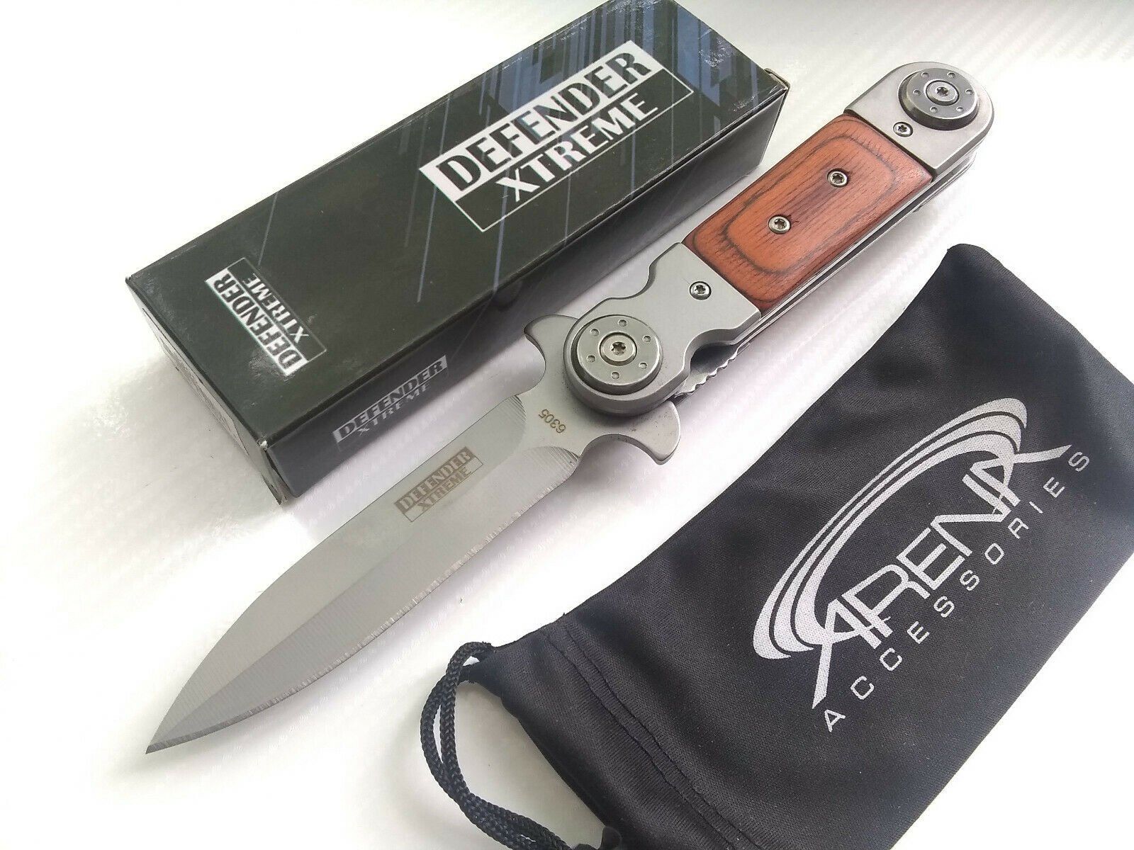 Defender Xtreme Silver Blade Wood Handle Spring Assisted Flipper Hunting Camping Hiking Pocket Knife EDC