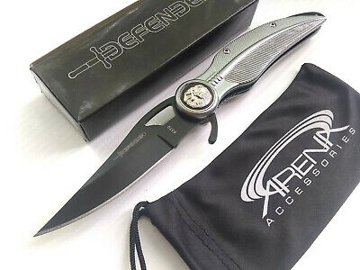 Defender Xtreme Gray Eagle Feather Spring Assisted Pocket Knife Black Blade Lightweight Flipper