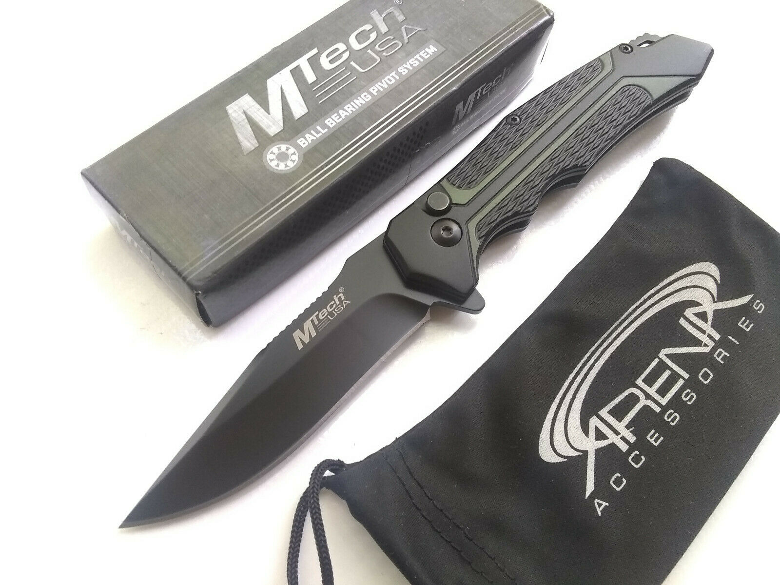 MTech Green Manual Button Lock Pocket Knife Fine Blade Anodized Aluminum Handle EDC