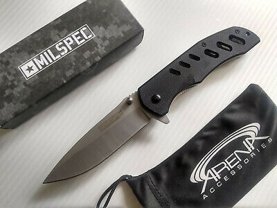 Milspec Slim Lightweight G10 Spring Assisted Pocket Knife Skeletonized Flipper Blade EDC