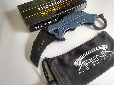 Tac-Force Blue Anodized Spring Assisted Karambit Pocket Knife Finger Hole Hawkbill Blade EDC
