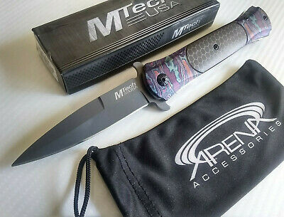 MTech Timascus C-Tek Honeycomb Spear Point Spring Assisted Stiletto Pocket Knife EDC