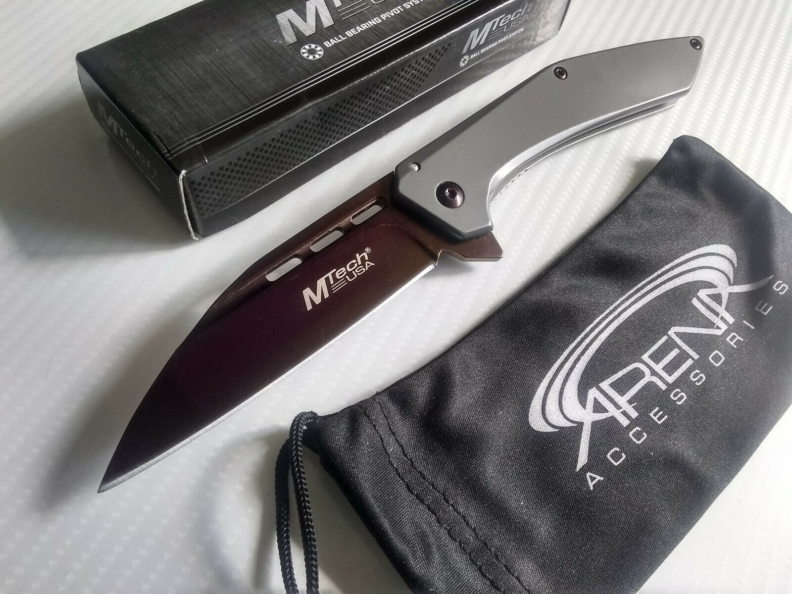 MTech Purple Ti Wharncliffe Ball Bearing Pivot Manual Open Pocket Knife Frame Lock EDC