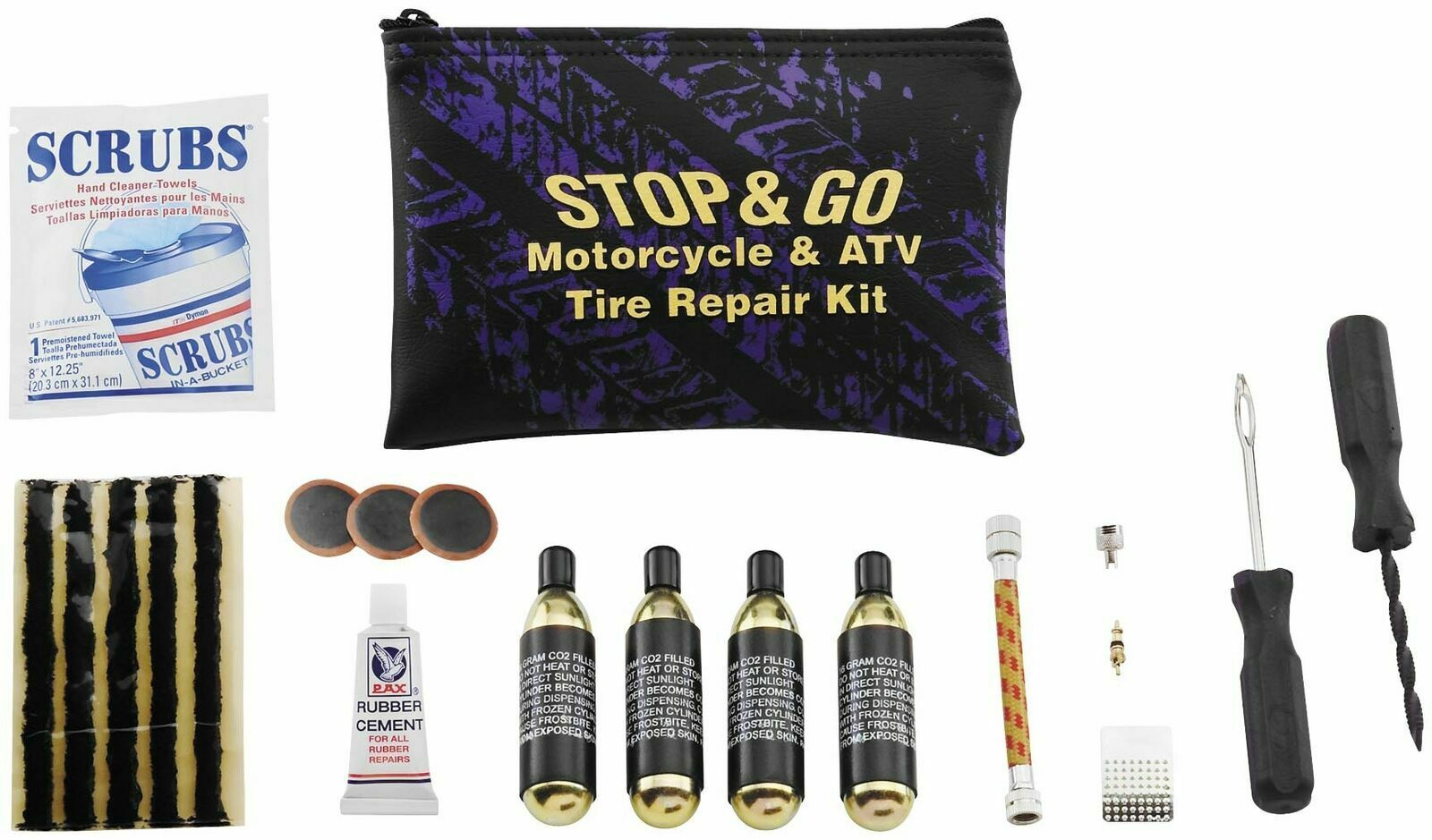New Stop & Go Motorcycle ATV Scooter Tubeless Tire Repair Kit Emergency Co2 Canisters