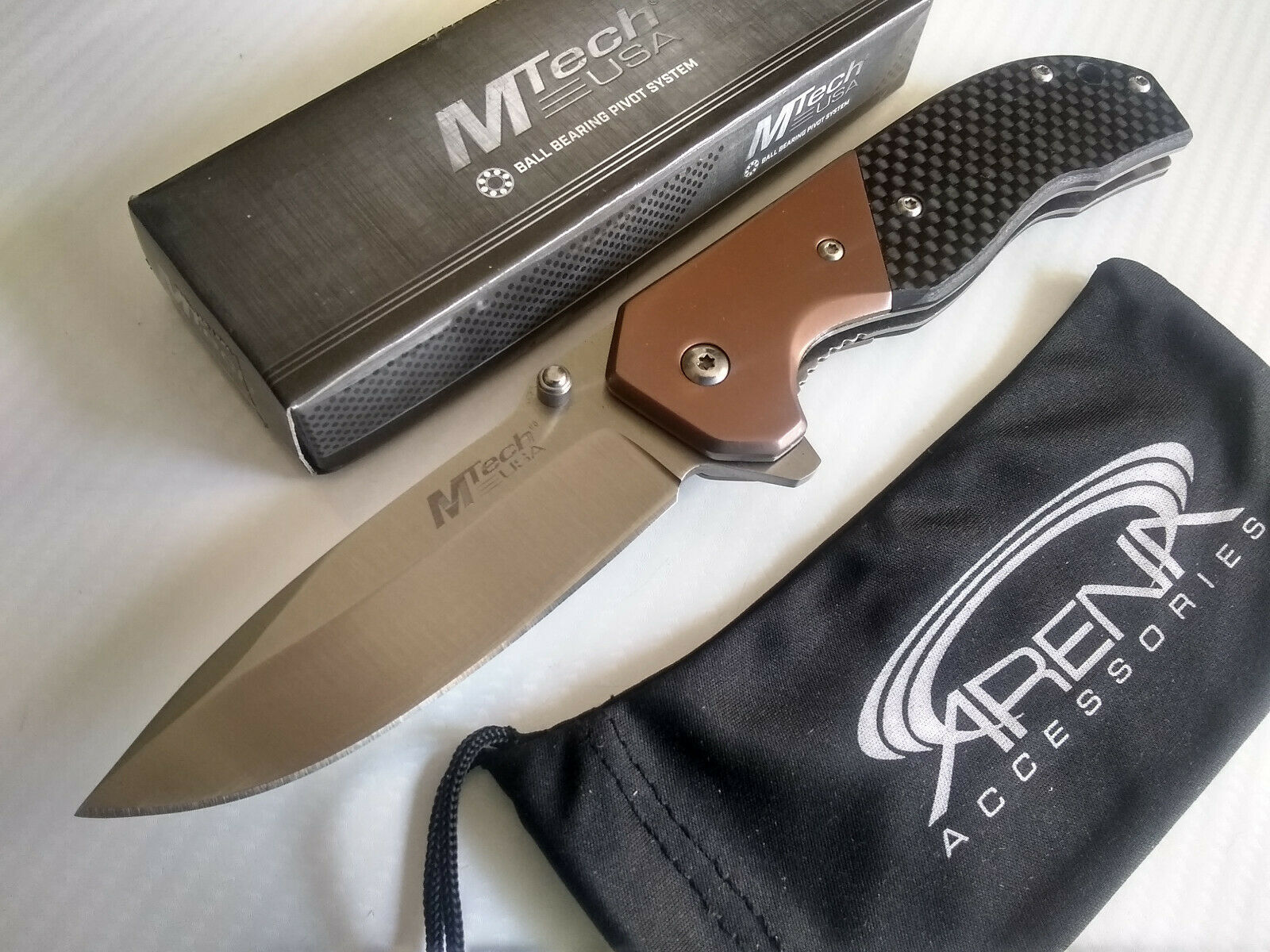 MTech Bronze & Real Carbon Fiber Handle Ball Bearing Pivot Manual Open Flipper Pocket Knife EDC