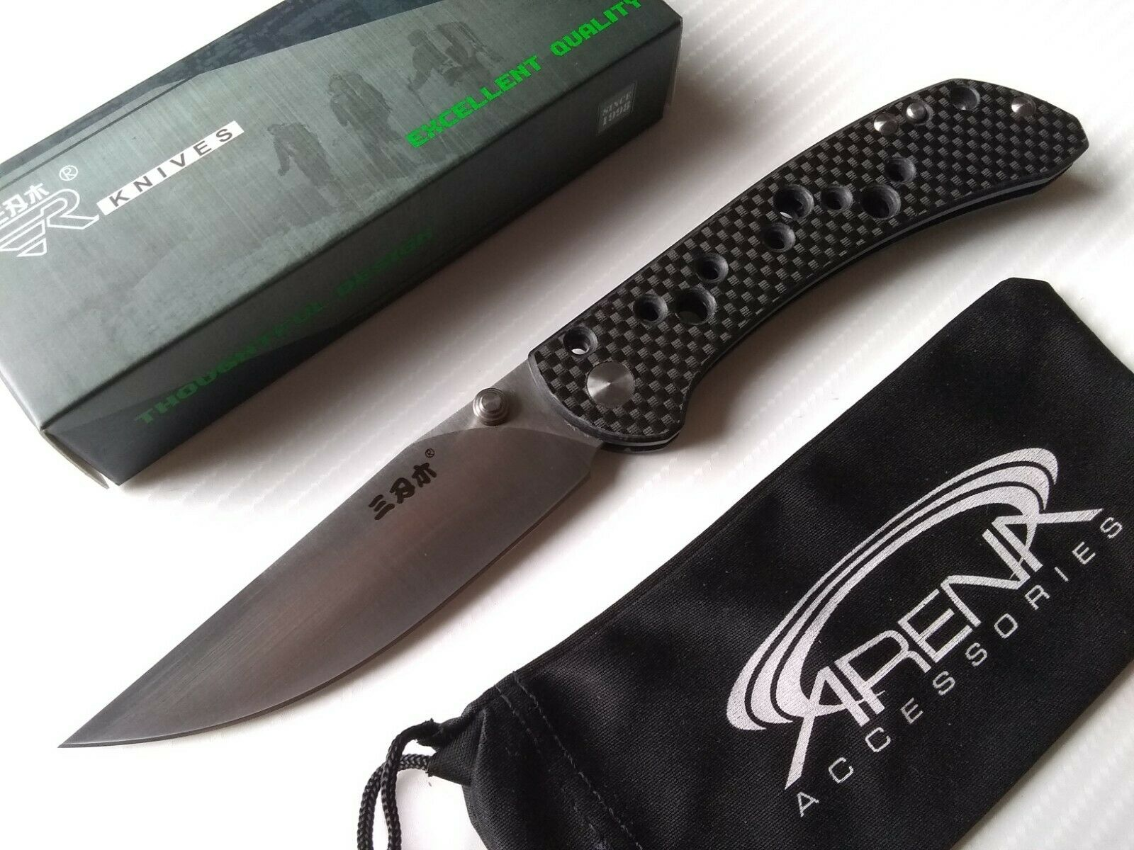 Sanrenmu 9165-KB Carbon Fiber Handle Locking Slipjoint Pocket Knife 12C27 Sandvik Blade SRM