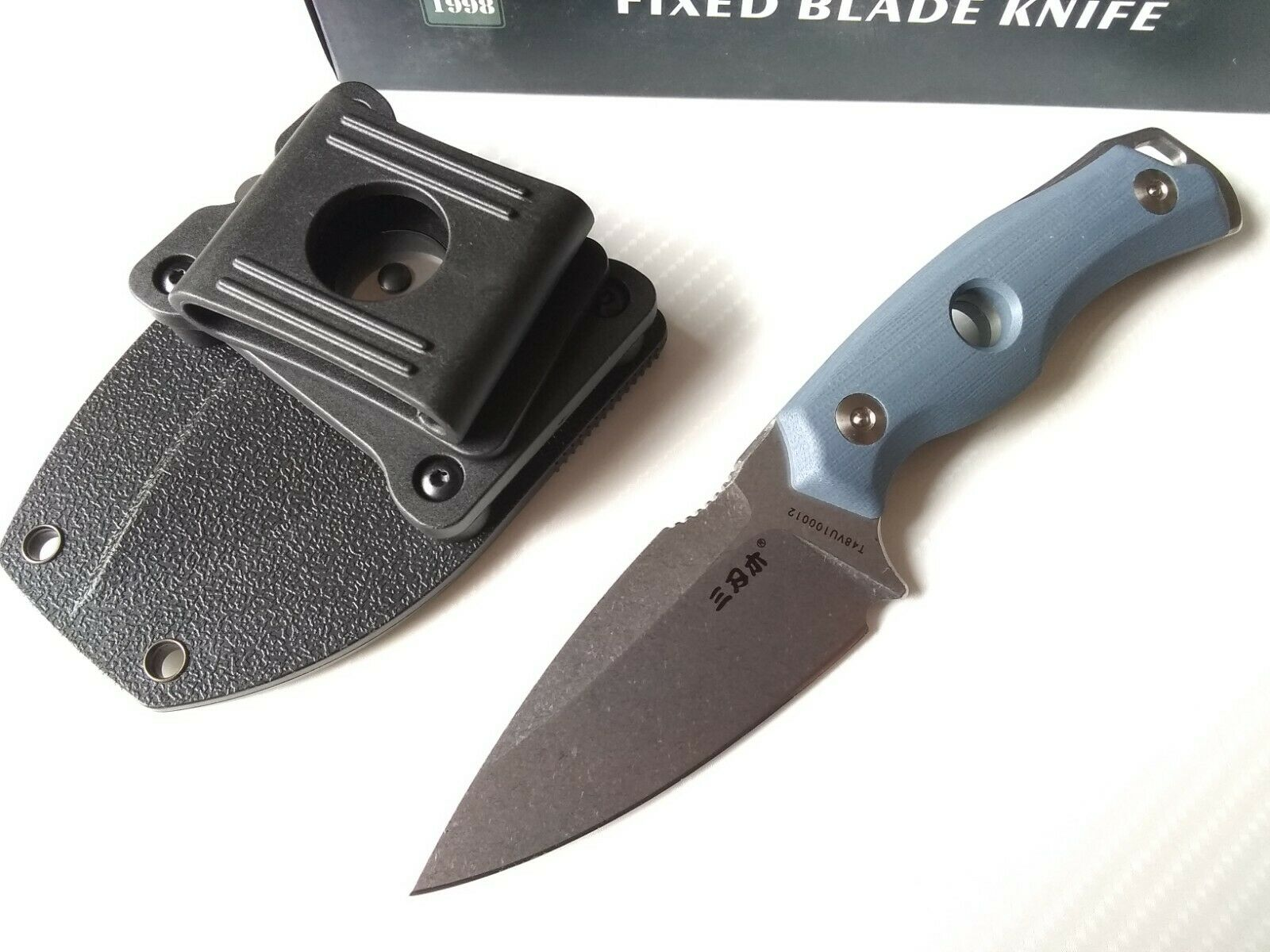 Sanrenmu S625 Blue G10 EDC Fixed Blade Knife Horizontal / Angled / Vertical Mount Concealed Carry 8Cr14MoV