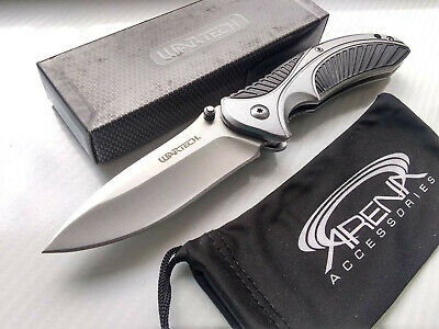 Wartech Flipper Black & Silver Spring Assisted Pocket Knife EDC Lanyard Hole All Metal
