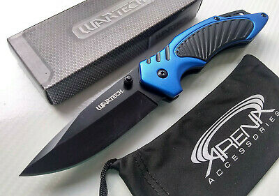 Wartech Black & Blue Spring Assisted Pocket Knife EDC Lanyard Hole All Metal Flipper
