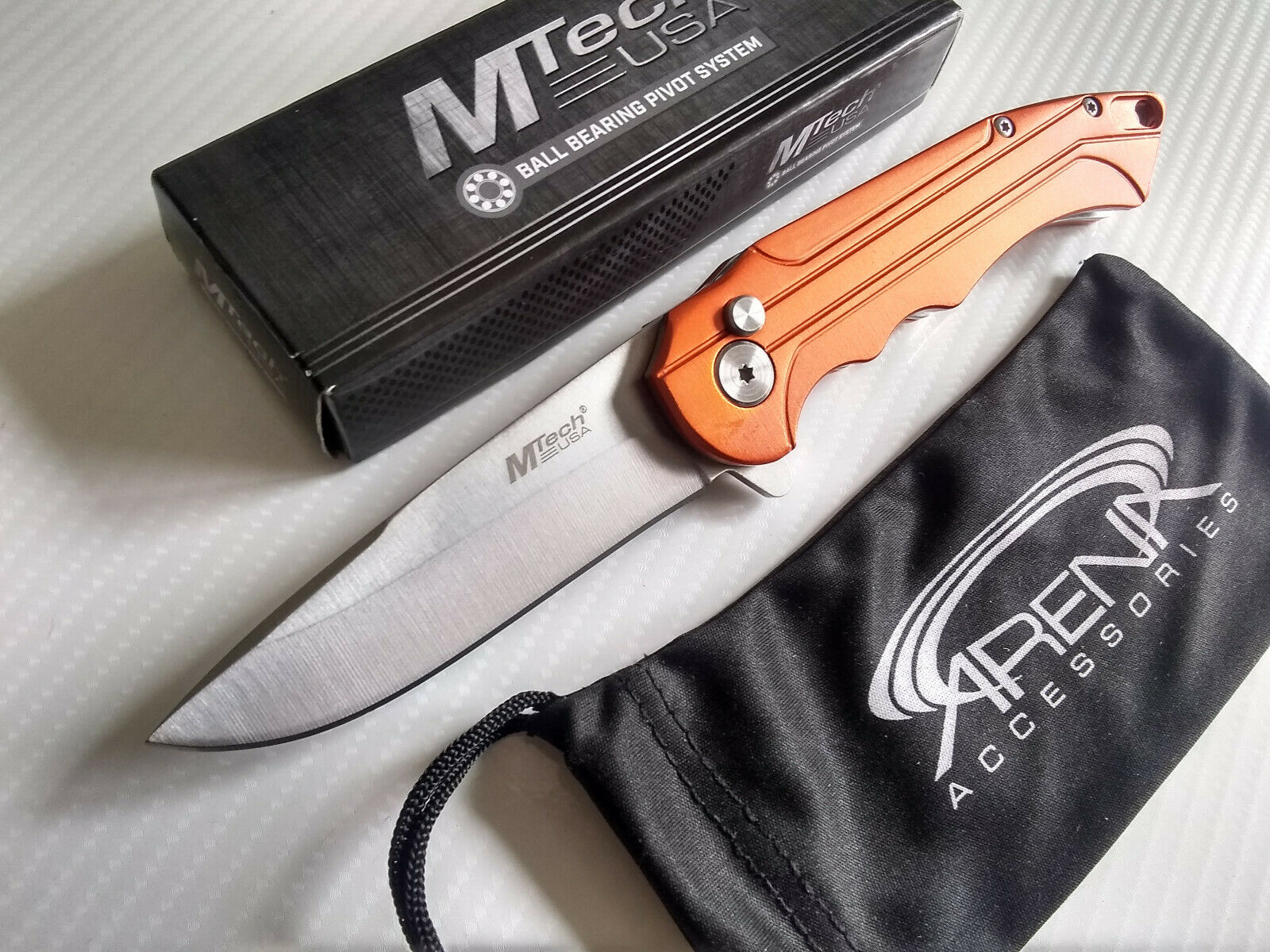 MTech Orange Manual Button Lock Ball Bearing Pocket Knife Anodized Aluminum Handle EDC