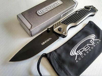 Wartech Gray Spring Assisted Pocket Knife Glass Breaker Seat Belt Cutter Tool EDC Blade