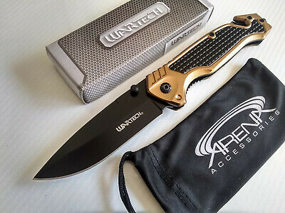 Wartech Gold Spring Assisted Pocket Knife Glass Breaker Seat Belt Cutter Tool EDC Blade