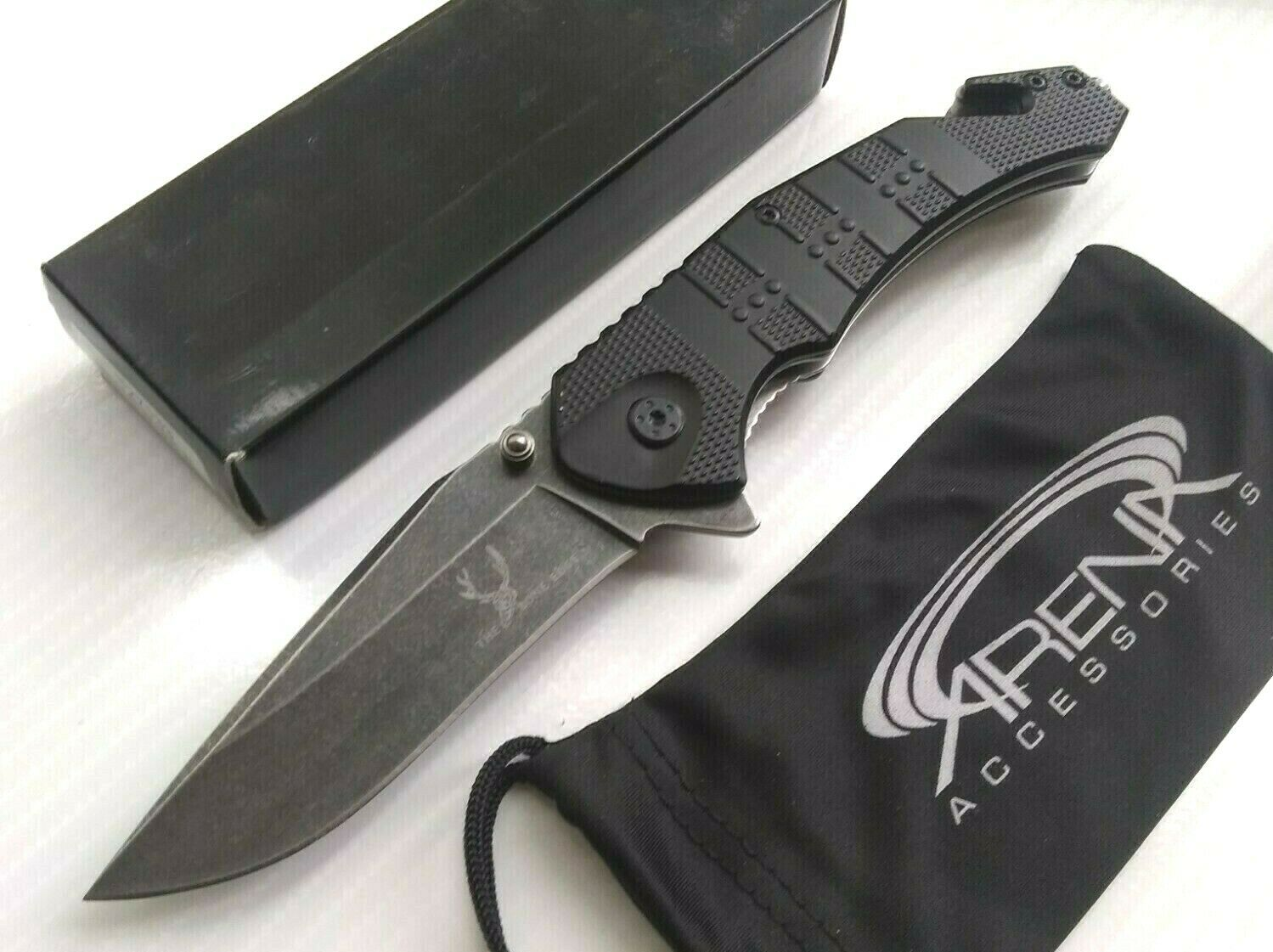 The Bone Edge All-Metal Slim Spring Assisted Flipper Pocket Knife Rescue Glass Breaker Stonewashed Blade