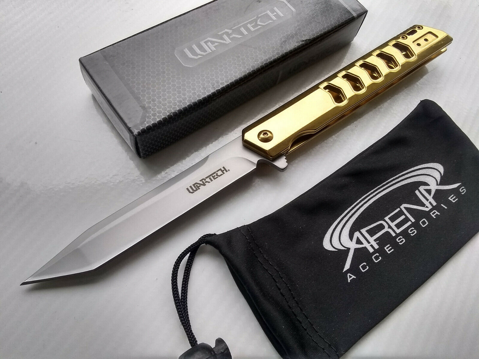 Wartech Slim Design Mirrored Gold Ti Tanto Pocket Knife Spring Assisted Frame Lock Flipper EDC
