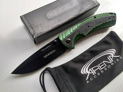 Wartech Flipper Green Spring Assisted Pocket Knife EDC Stonewashed Bolster Lanyard Hole