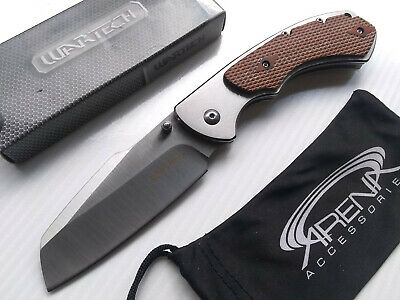 Wartech Harpoon Sheepsfoot Cleaver Blade Spring Assisted Frame Lock Pocket Knife EDC Wood Handle