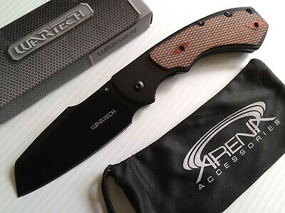 Wartech Harpoon Sheepsfoot Cleaver Spring Assisted Frame Lock Pocket Knife Wood EDC Black