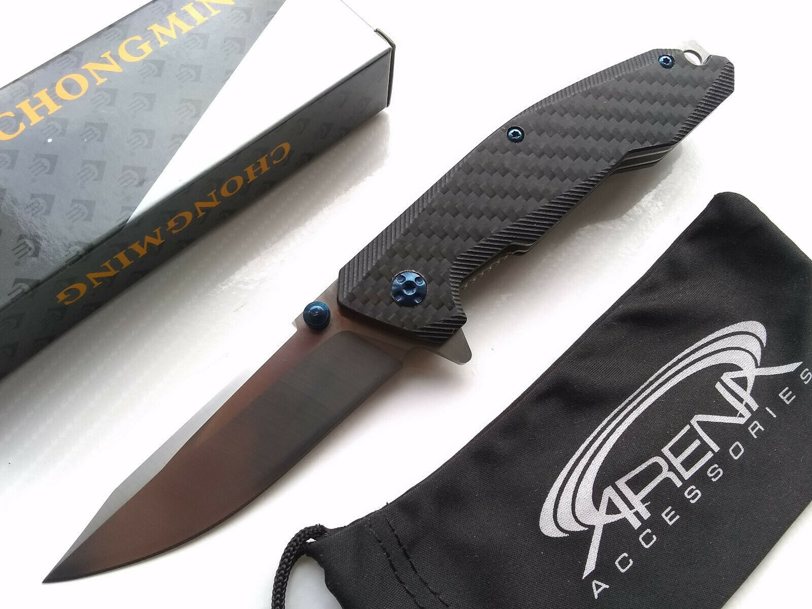 G10 Carbon Fiber Manual Open Blue Accents Ball Bearing Pivot Pocket Knife EDC