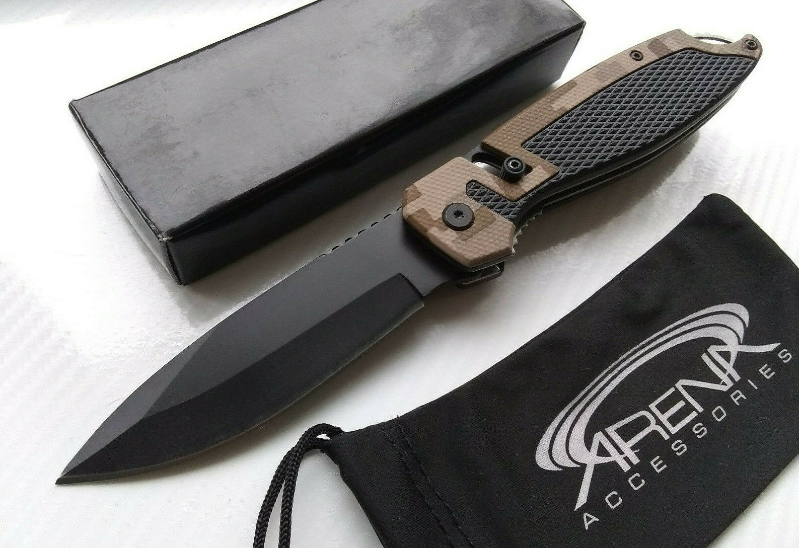 Wartech Lightweight Unique Slide Spring Assisted Pocket Knife Folder EDC Tan Digital Camo