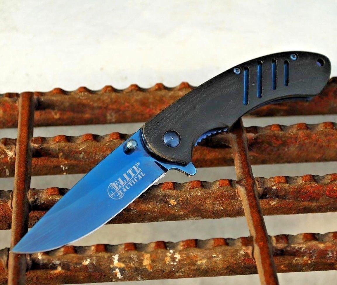 Elite Tactical Pocket Knife 8CR13 Steel Blue Spring Assisted G10 Handle ET-A1015