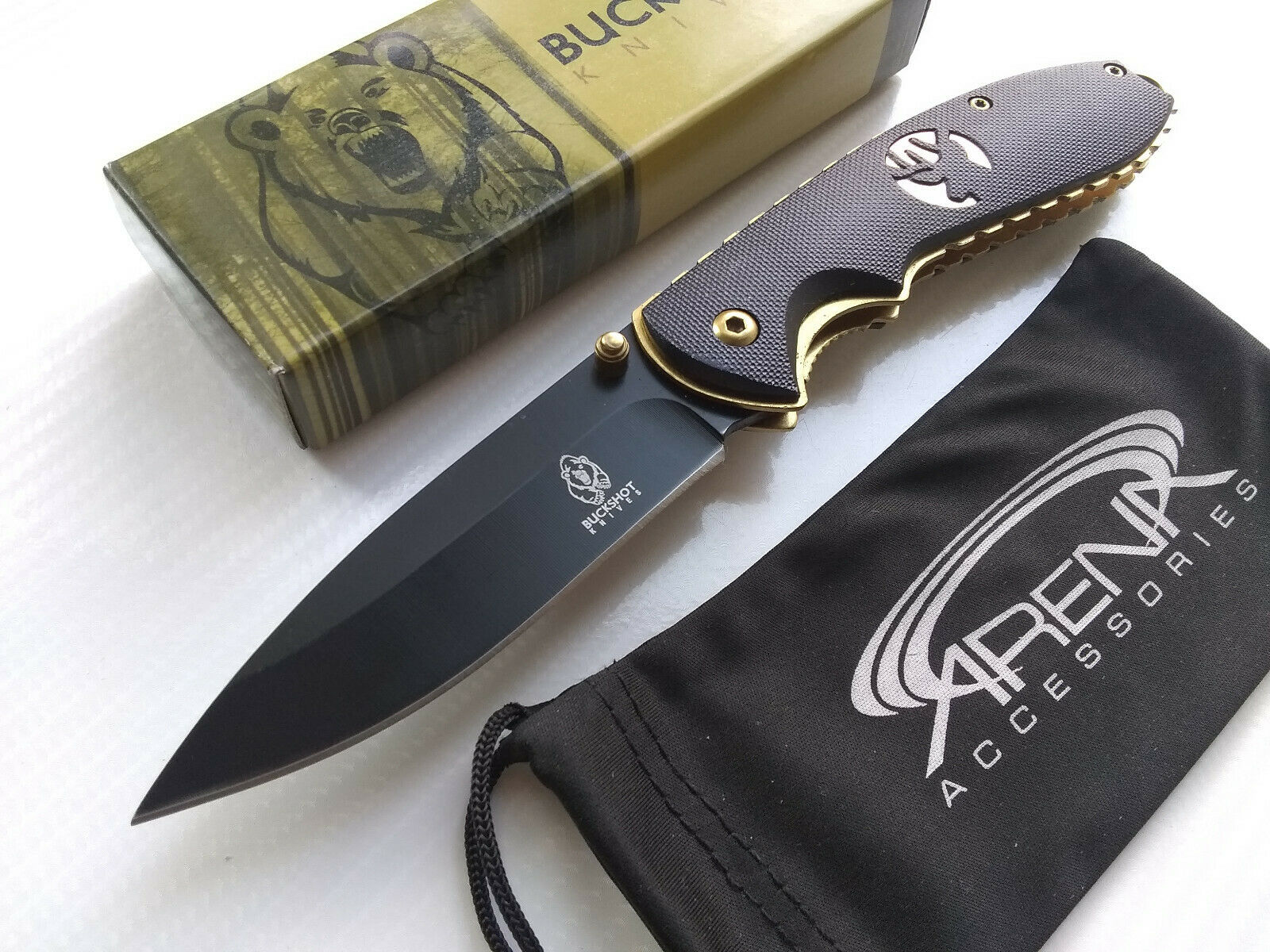 Buckshot Deer Buck Spring Assisted Pocket Knife Flipper Gold Ti Liners & Black Blade EDC