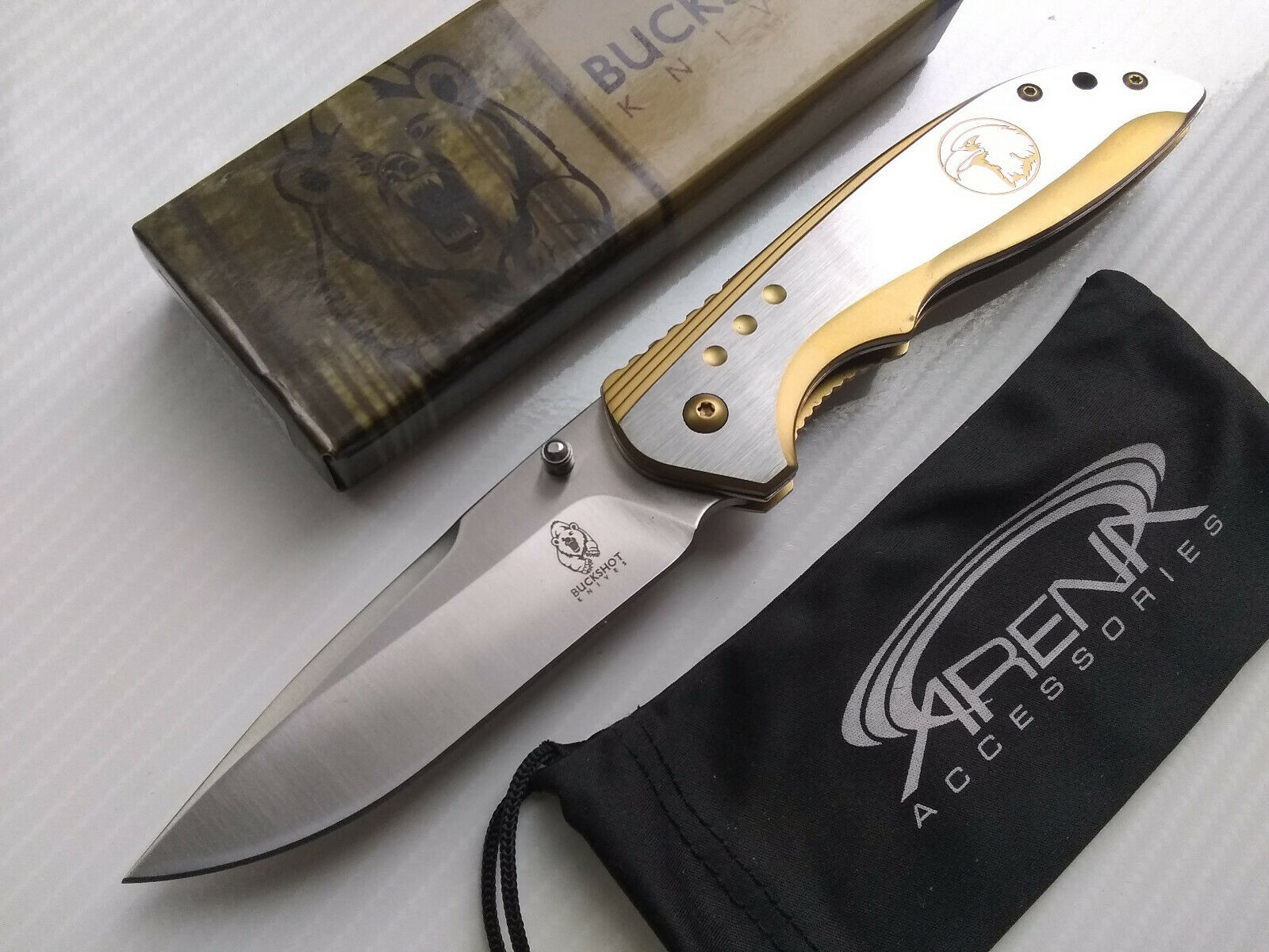 Buckshot Gold Bald Eagle Frame Lock Flipper Blade Spring Assisted Pocket Knife EDC
