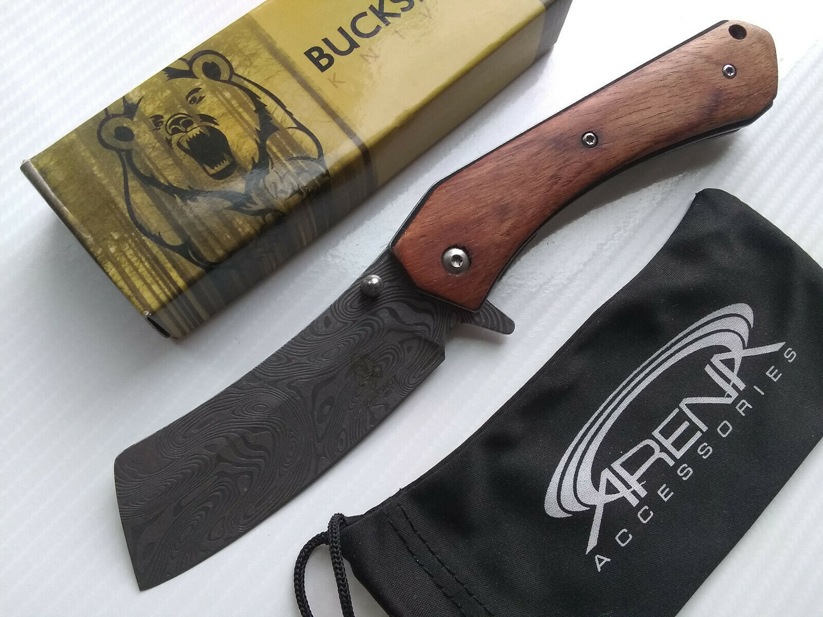 Wood Japanese Katana Tanto Pocket Knife Damascus Etched Spring Assisted FrameLock EDC