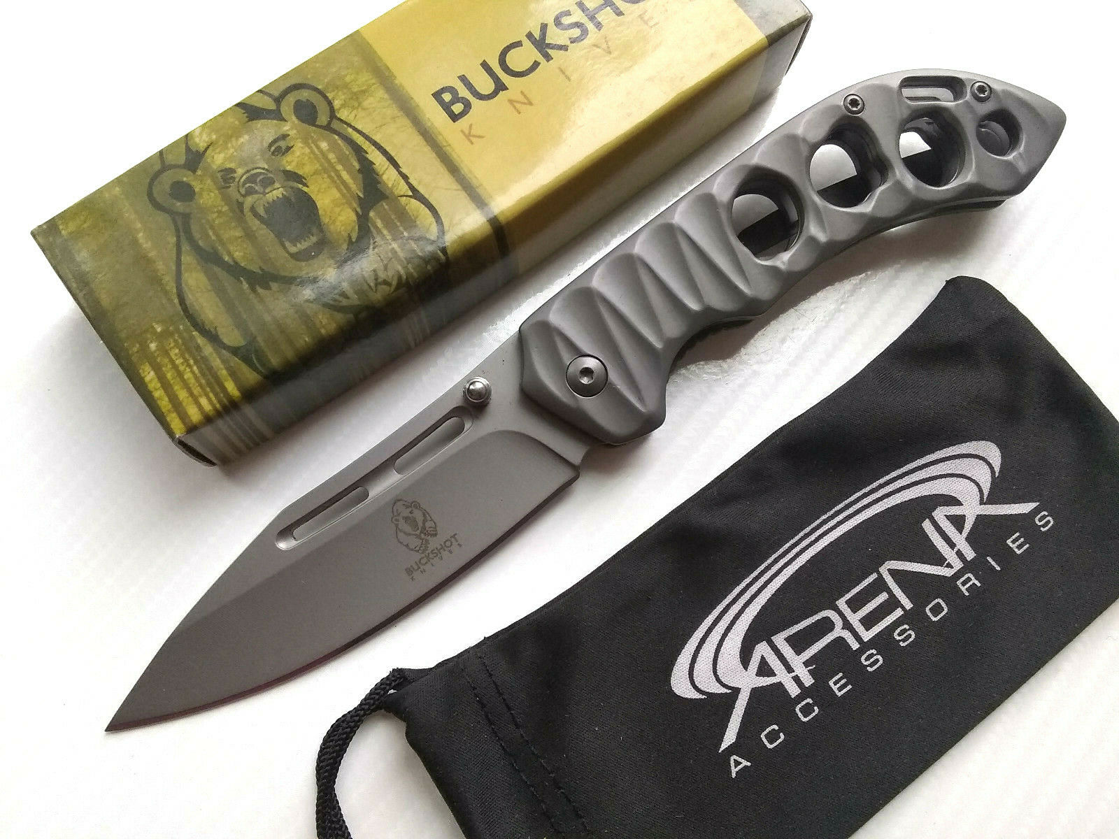 Buckshot Matte Silver Skeletonized Pocket Knife Spring Assisted Frame Lock Flipper EDC