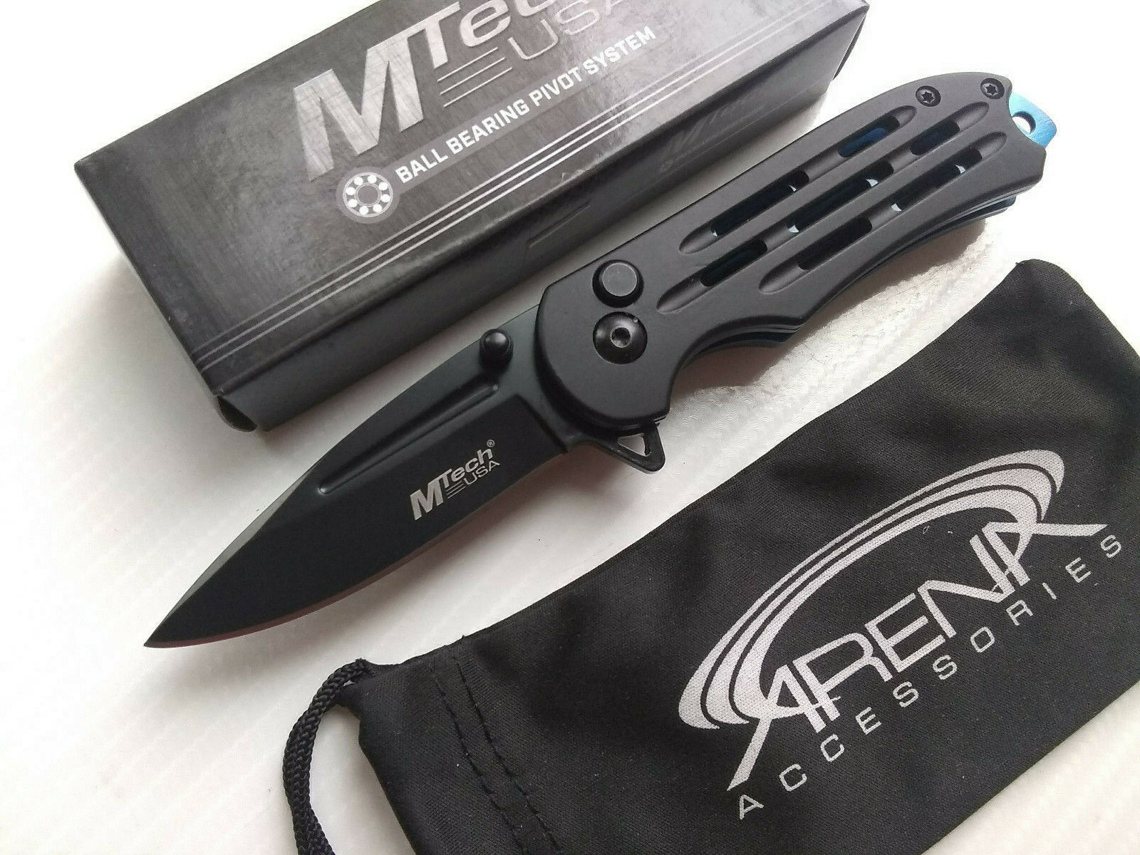 MTech Black Manual Open Button Lock Ball Bearing Pivot Pocket Knife EDC Blue Accents