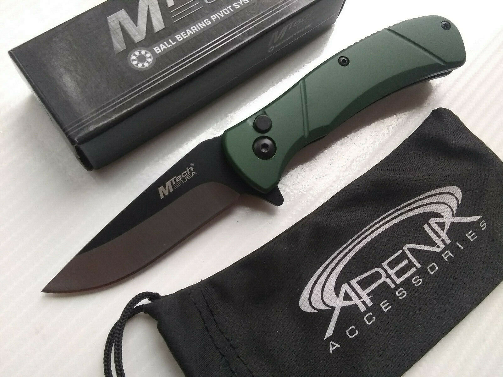 MTech Green Manual Button Lock Pocket Knife Ball Bearing Pivot EDC Anodized Aluminum Handle