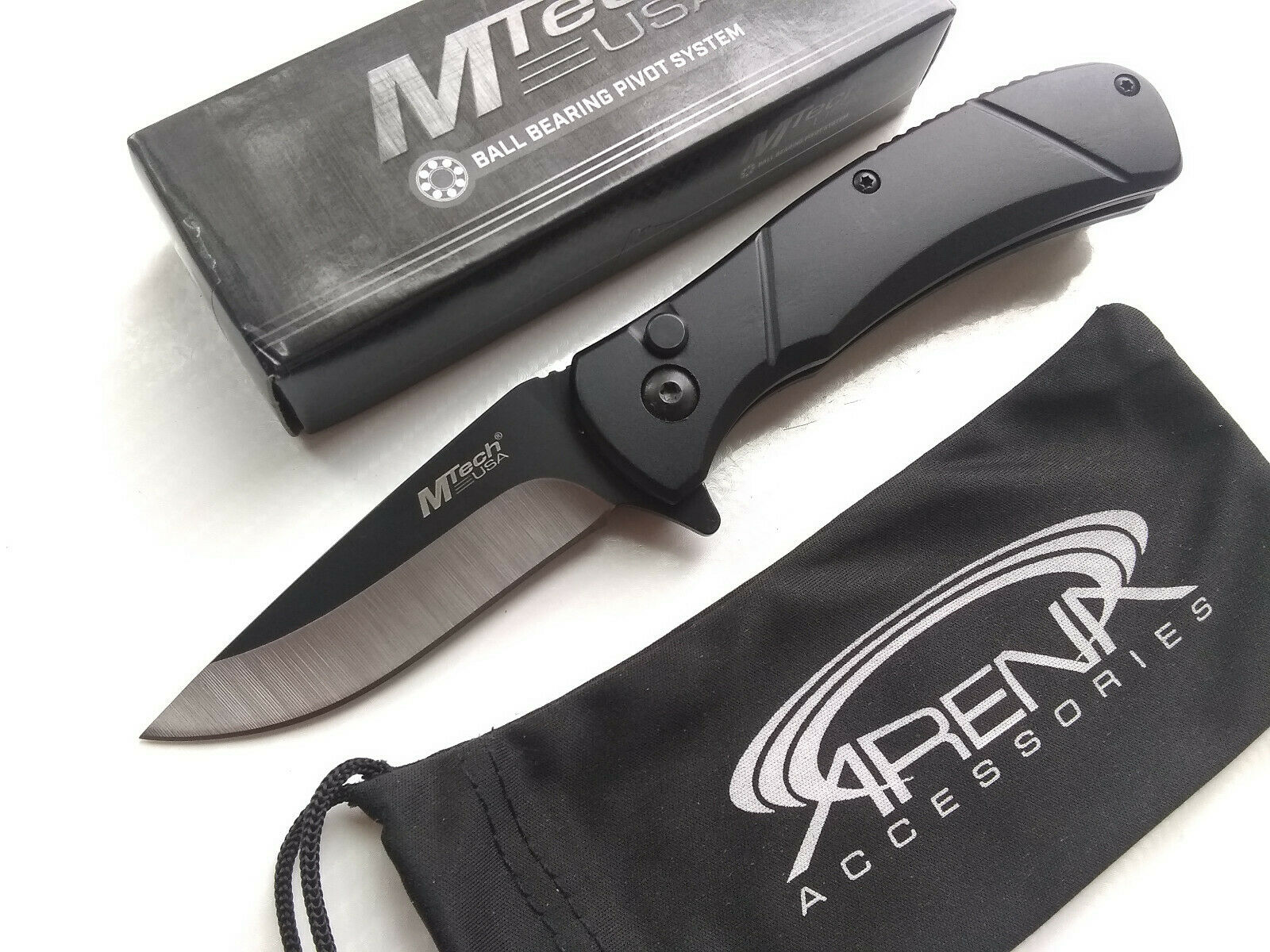 MTech Black Manual Button Lock Pocket Knife Ball Bearing Pivot EDC Anodized Aluminum Handle