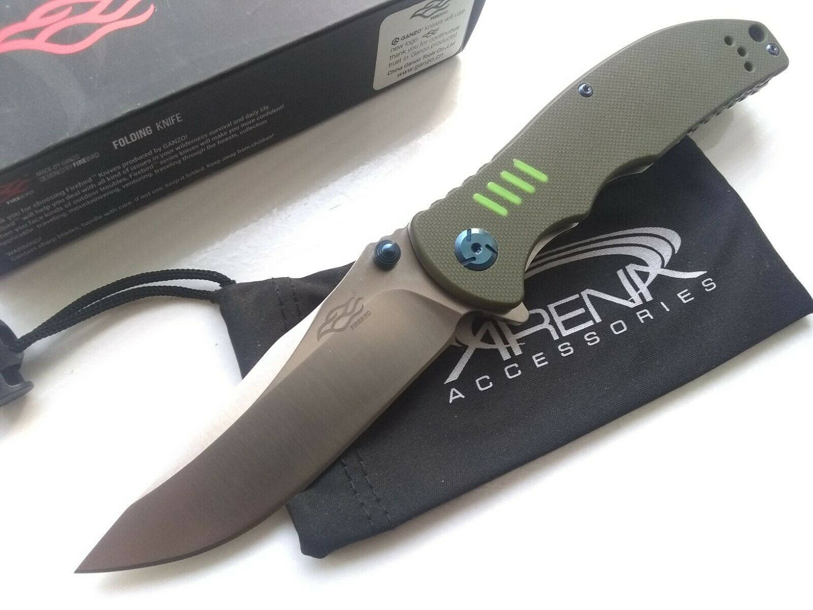 Ganzo F7511-GR Firebird Pocket Knife 440C Blade EDC G10 Ball Bearing Pivot Flipper Tip Up Carry