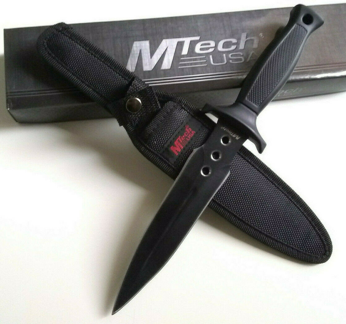 MTech Dual Double Edge Fuller Fixed Spear Point Blade Hunting Knife with Rubber Handle Grip EDC