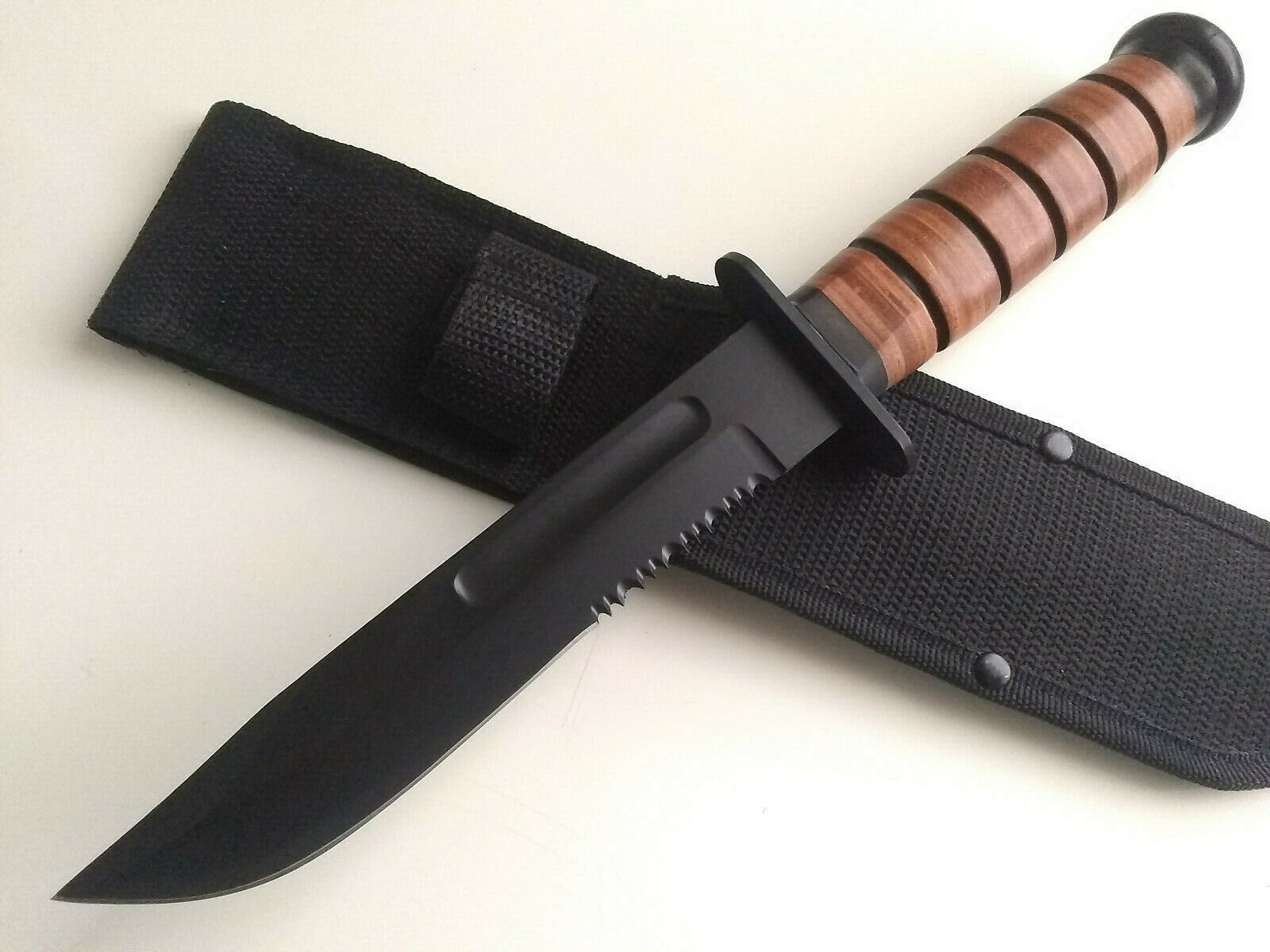 Big Bowie Black Fixed Blade Survival Hunting Knife with Leather Handle & Sheath EDC