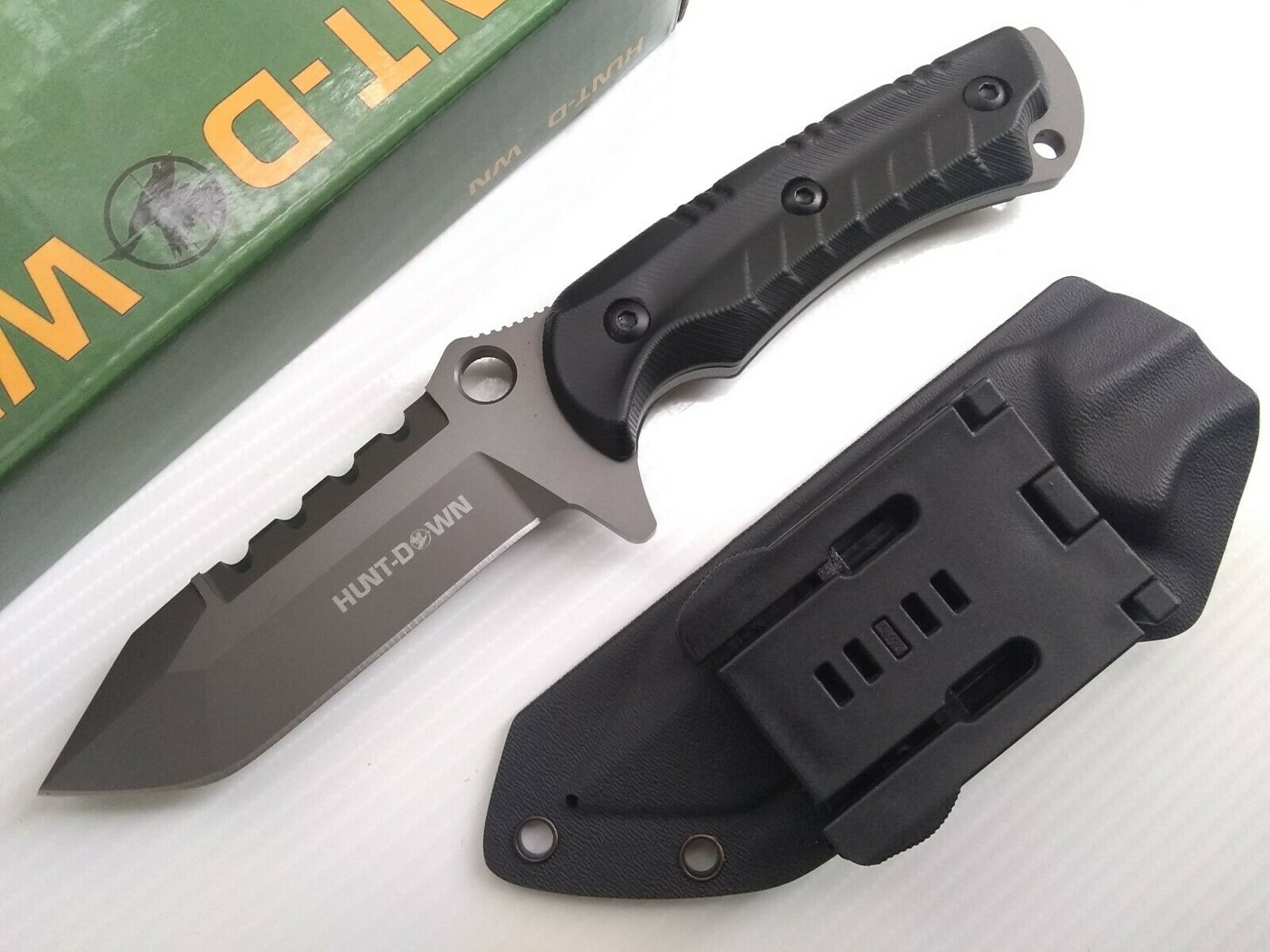 Horizontal Concealed Carry 5 mm Thick Fixed Blade Knife w/ Kydex Holster Sheath