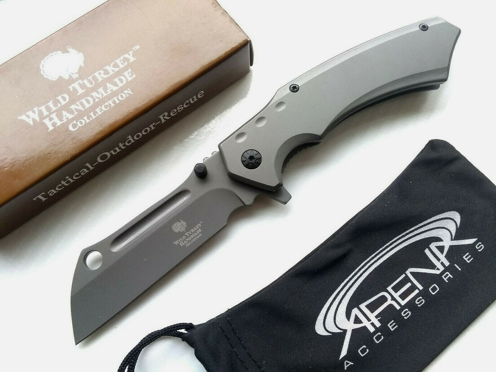 Snake Eye Gray Ti Coated Spring Assisted Pocket Knife Flipper Sheepsfoot Cleaver 440 EDC Blade