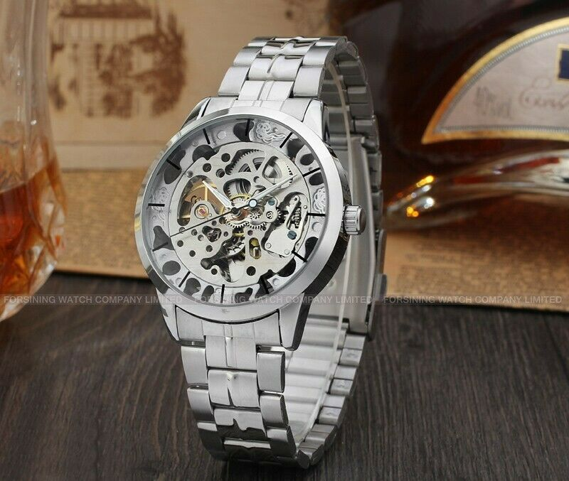 Skeleton Analog Minimalist Automatic Mechanical Wrist Watch Transparent Unisex