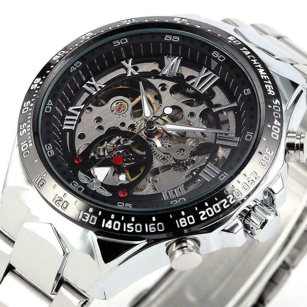 Skeletal Dial Classy Men's Automatic Mechanical Wrist Watch With Stainless Steel Band
