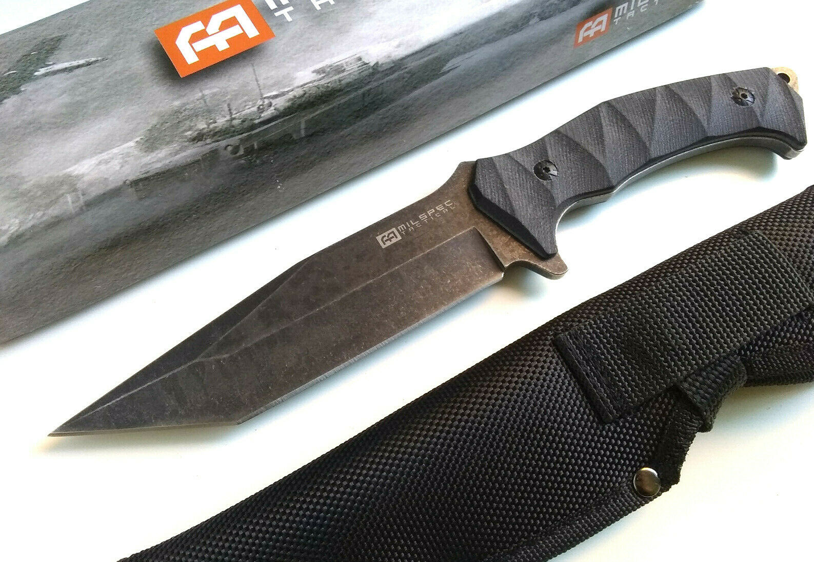 Milspec 1065 Surgical Steel G10 Full Tang 5mm Tanto Fixed Blade Stonewashed With Knife Sheath EDC