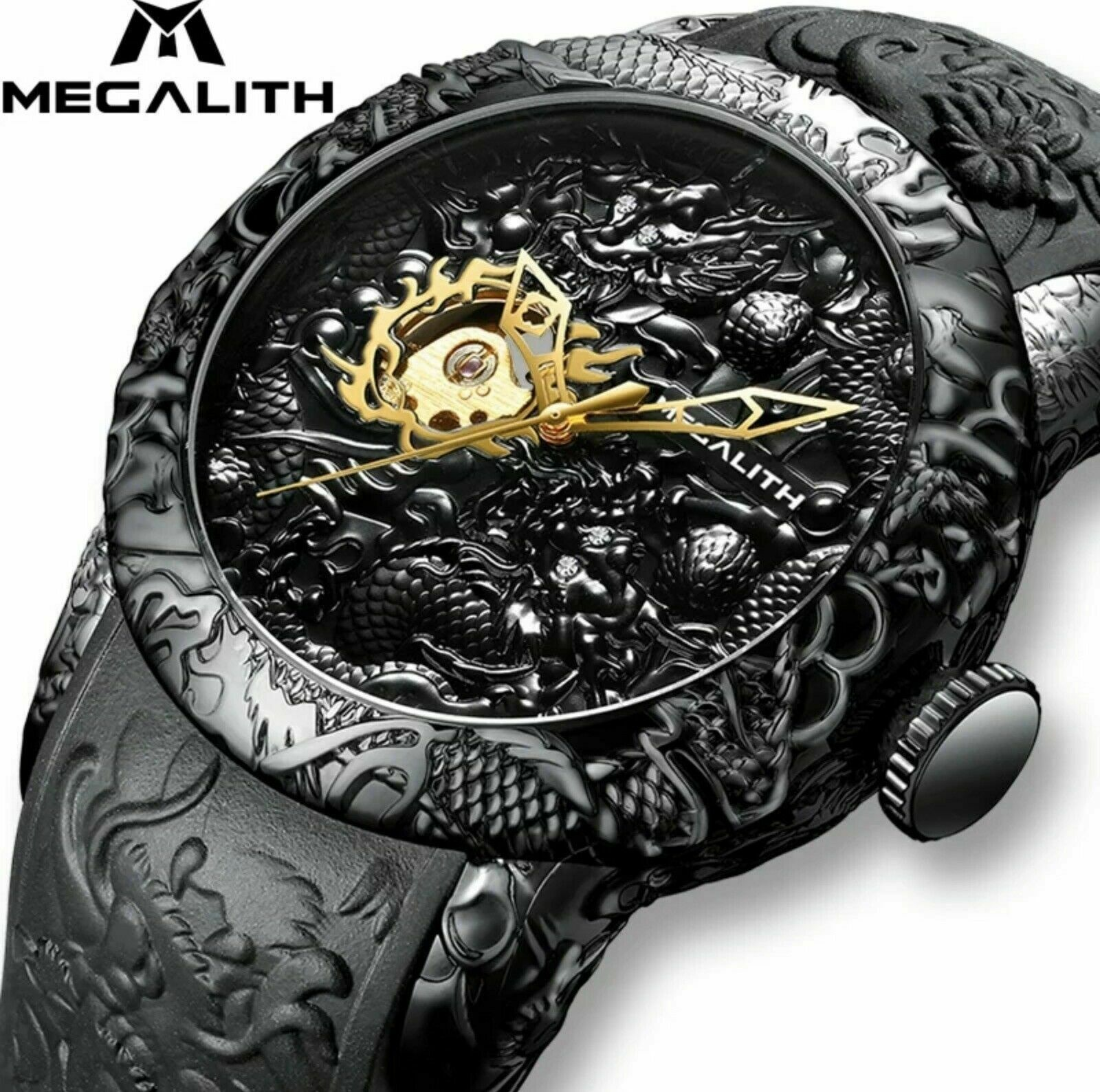 Big 50mm Megalith Automatic Mechanical Gold Dragon Sculpture Watch Luxury Gift