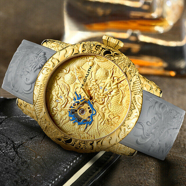 Megalith Automatic Mechanical Golden Dragon Sculpture Watch Luxury Gift Big 50mm