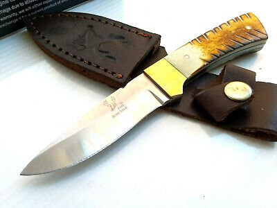 The Bone Edge Bone Handle Fixed Blade Hunting Pocket Knife w/ Leather Sheath Drop Point Blade EDC