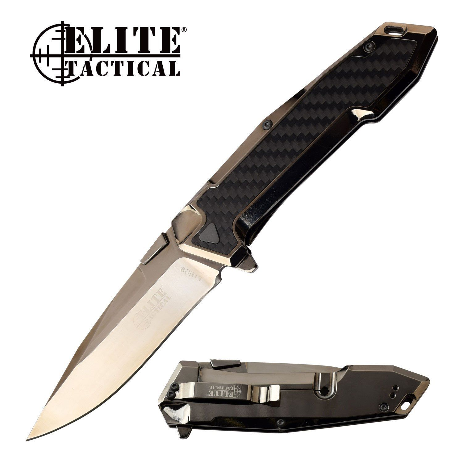 Elite Tactical 8CR13 Framelock Knife Ball Bearing Pivot REAL Carbon Fiber ET1018