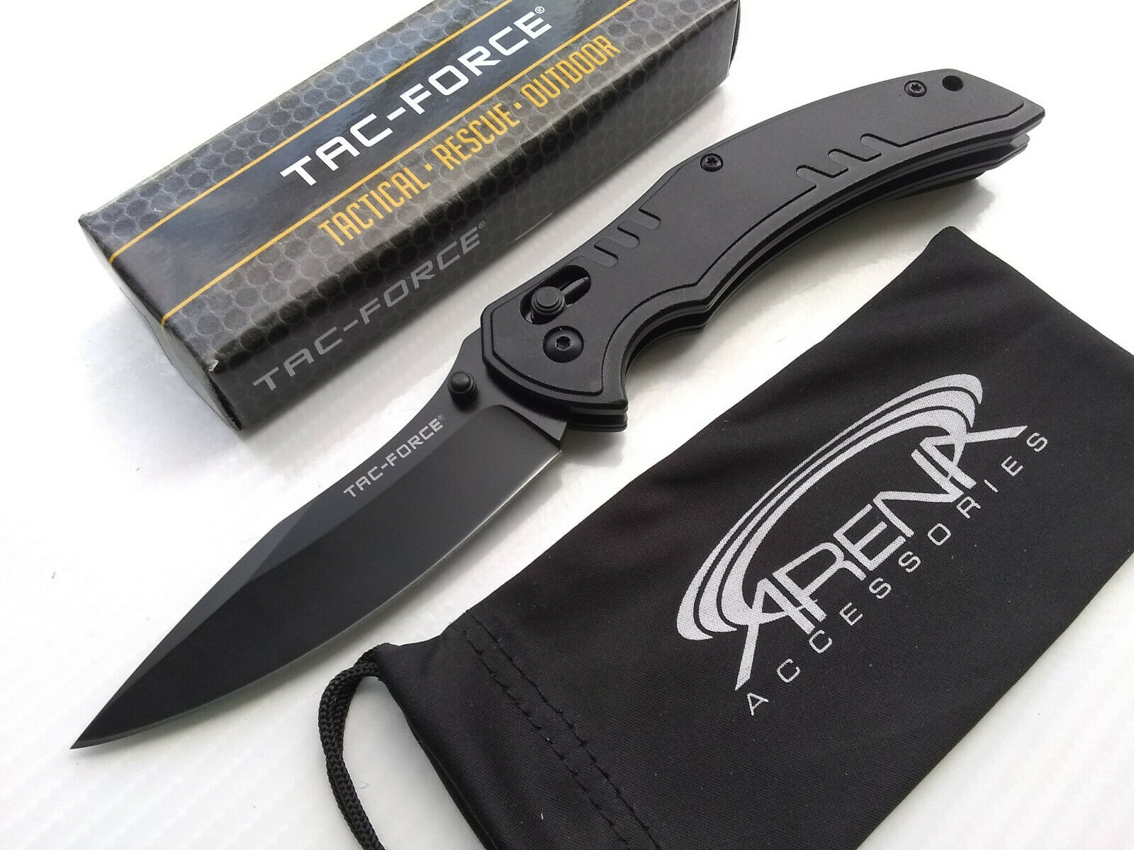 Tac-Force Axis Lock Ball Bearing Pivot Manual Open Pocket Knife EDC Black Tip Up Carry