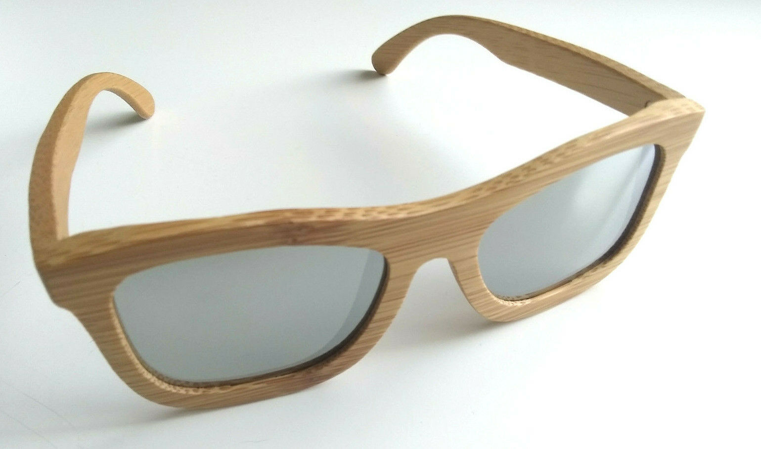 BeWell Handmade Bamboo Light Brown Wood Sunglasses Frames Silver Lenses Lightweight
