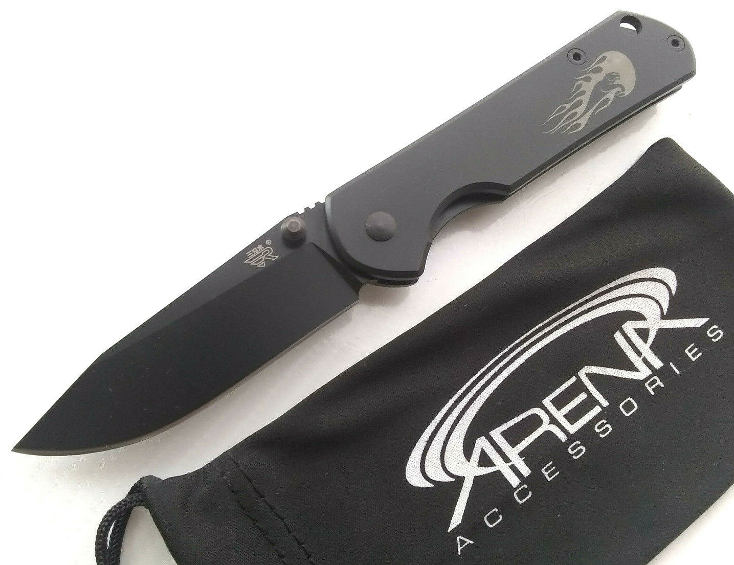 Sanrenmu SRM 7010 All Black Folder Pocket Knife 8Cr14 FrameLock Small Everyday Carry