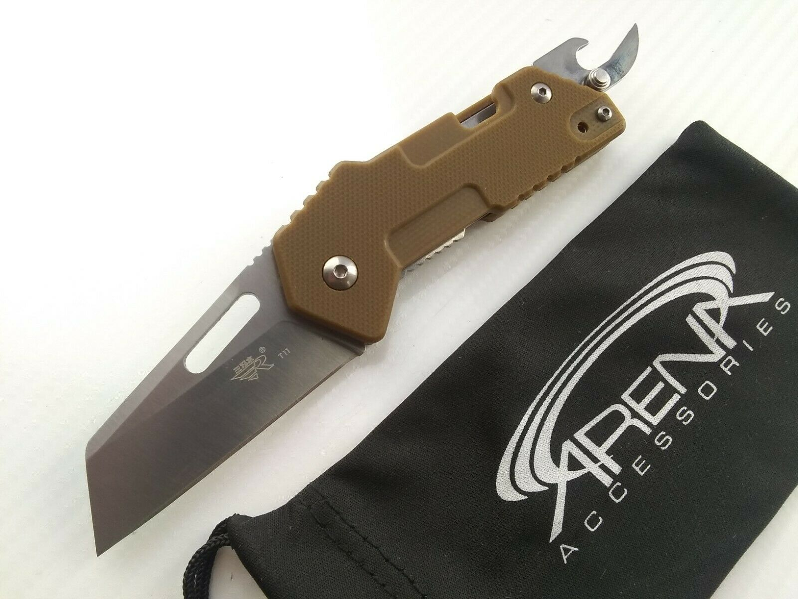 Sanrenmu SRM GA-T11 Multi-Tool Pocket Knife 8Cr14 Blade Brown G10 Handle Can Bottle Opener
