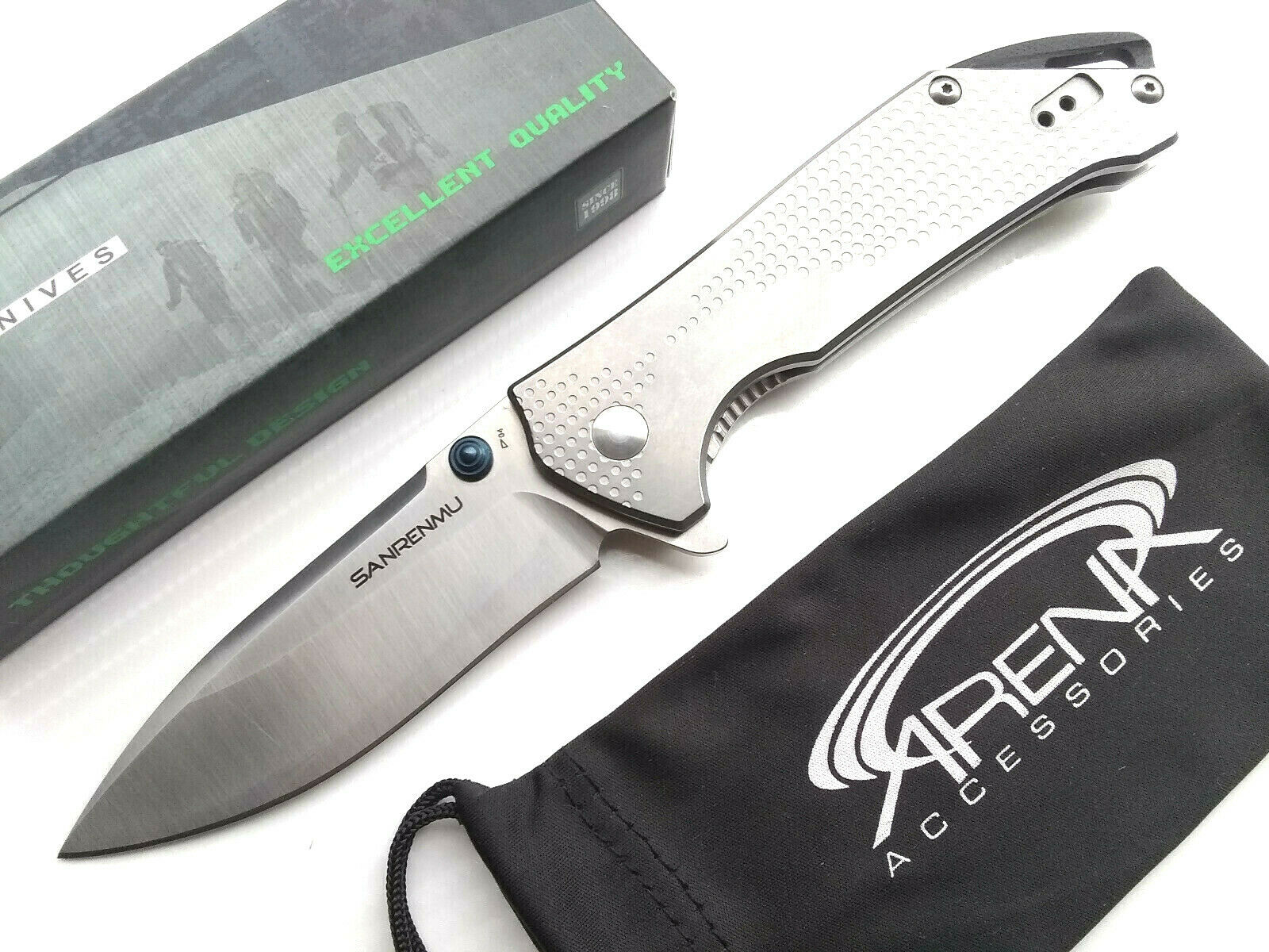 Sanrenmu 9015 Ball Bearing Flipper Pocket Knife 12C27 Sandvik Steel With Safety Frame Lock EDC