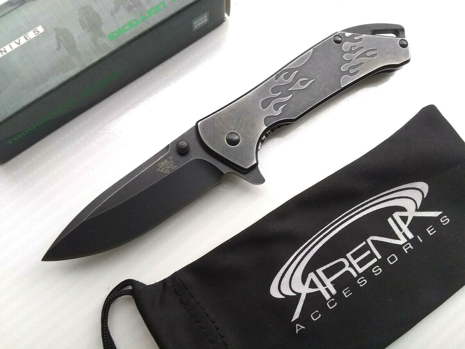 Sanrenmu 7089 Fiery Flames Manual Open 12C27 Sandvik Stonewashed Pocket Knife EDC Small Flipper